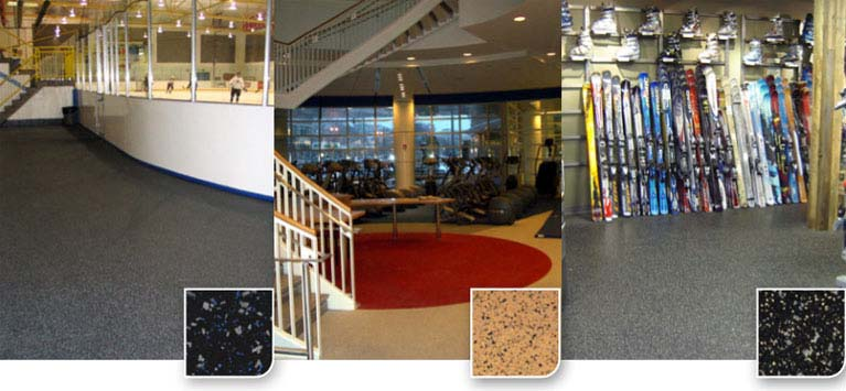 Sport Mat Flooring is a high traction, durable, recycled rubber tile available in a precision cut interlocking format or square edge finish for glue down installation