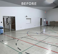 Church gym with vinyl tiles which are not appropiate for sports
