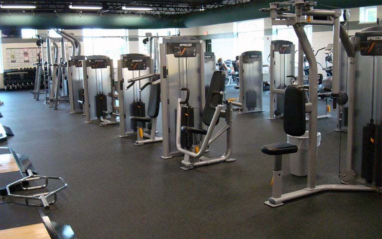 Gym machine area using rubber flooring