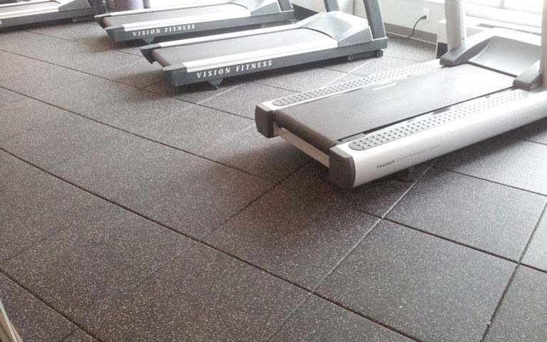 Gym machine area using rubber tiles flooring