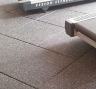 Gym floor with rubber tiles