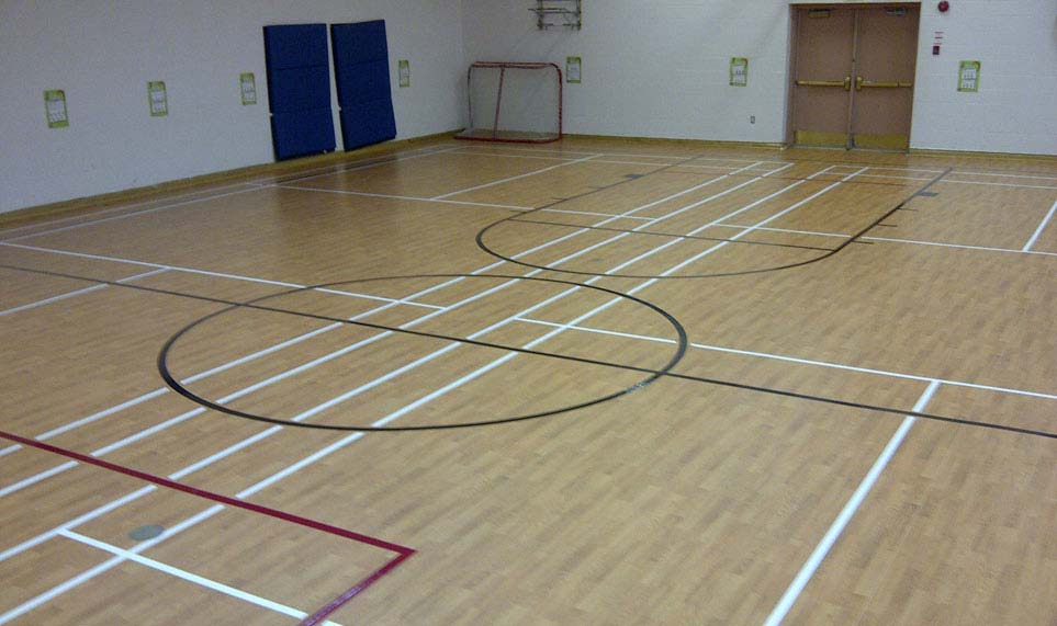 Rolled Vinyl Flooring used at a school gym